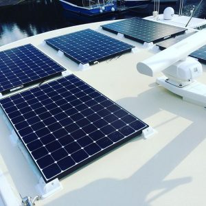 Solar Panels fitted to motor yacht - high power 1.962kW by Bird Electrical Marine