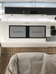 Flybridge upgrade with Garmin Screens on this Fairline 60' motor yacht